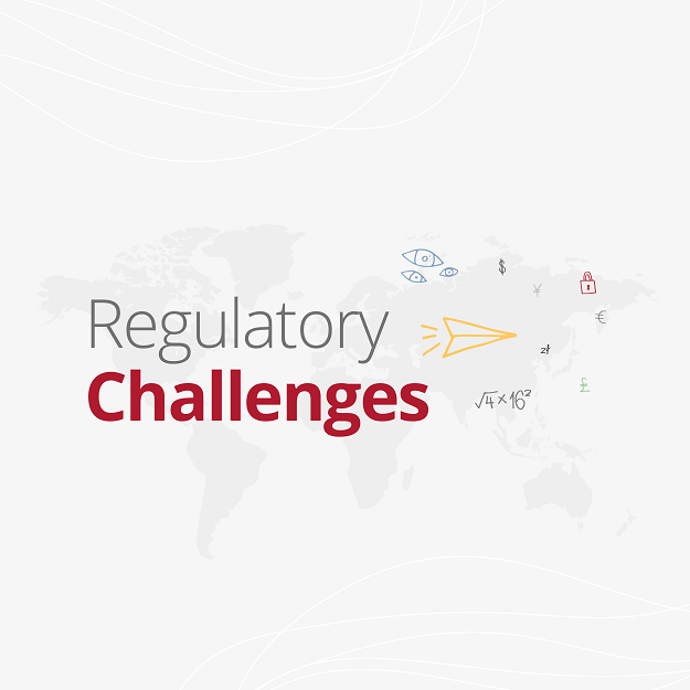 """Banner with the world map in grey on the background and with overlaying text saying """"Regulatory Challenges"""""""