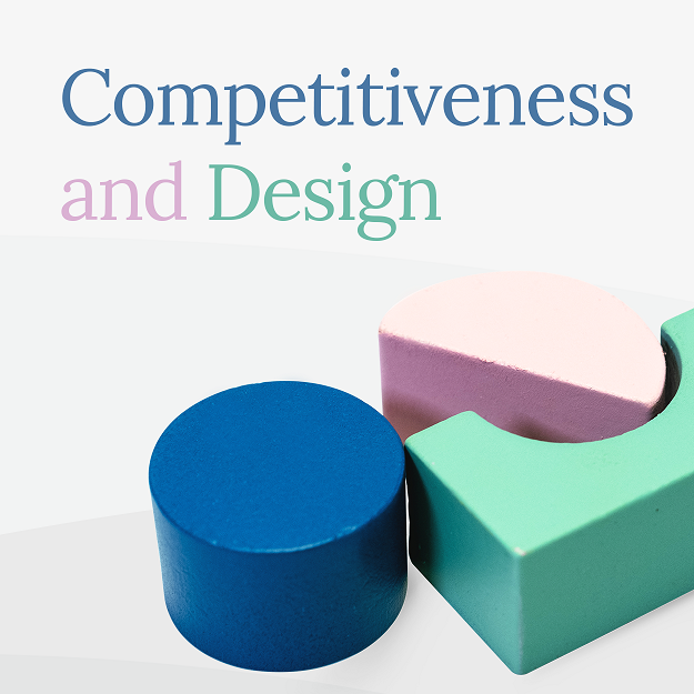 """Three wooden block with carios geometric formats and reads on top """"Competitiveness and design"""" for different types of equity"""