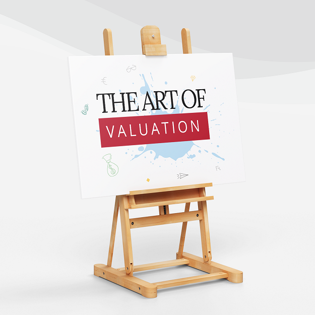 """Frame easel tripod holding a canvas that reads """" The art of Valuation"""""""