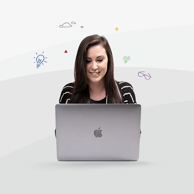 Photo of a women browsing happy on a MacBook